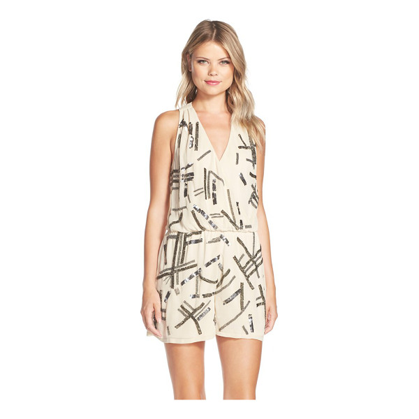 ADELYN RAE embellished georgette romper - Edgy, sporadic sparkle primes this blousy surplice-neck...