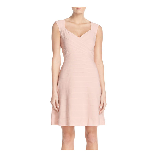 ADRIANNA PAPELL banded fit & flare dress - Crisscrossing bands wrap the bodice and skirt on a...