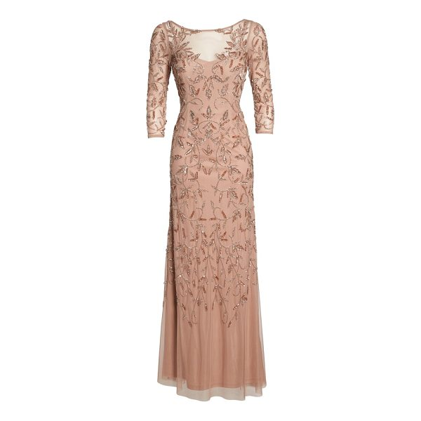 ADRIANNA PAPELL beaded a-line gown - Soft color enriches the detailed sparkle embroidered...