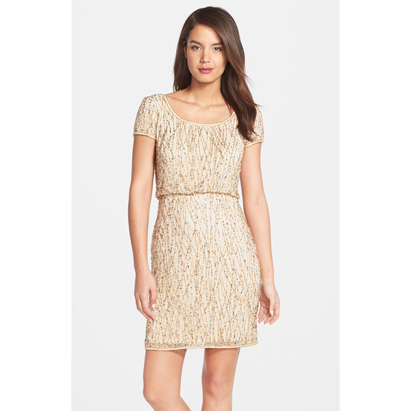 ADRIANNA PAPELL beaded blouson dress - Glimmering beads and sequins scale the mesh length of a...