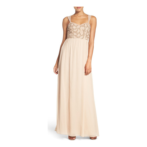ADRIANNA PAPELL beaded bodice v-neck chiffon gown - Beautiful beading at the front bodice and sheer illusion at...
