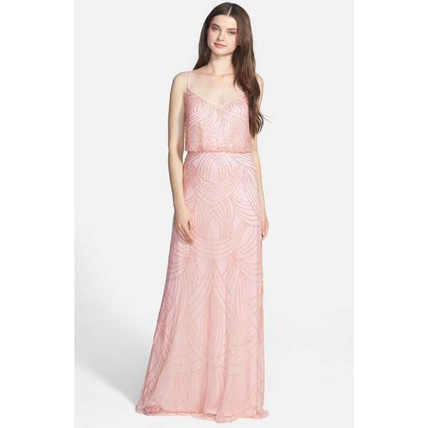 ADRIANNA PAPELL beaded chiffon blouson gown - Delicate straps crisscross the back of an elegant gown that...