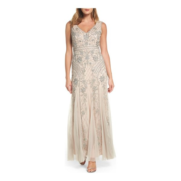 ADRIANNA PAPELL beaded double v-neck gown - Glittering flowers climb a sparkling trellis on a dreamy...