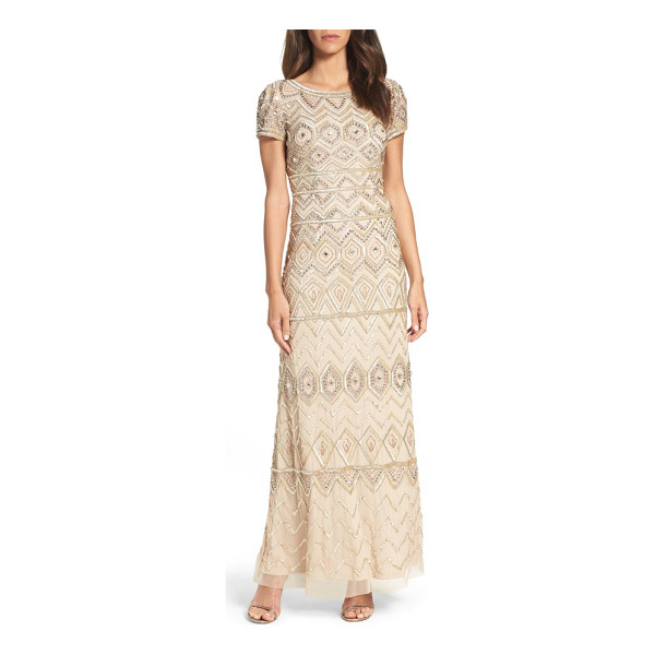 ADRIANNA PAPELL beaded gown - Shimmer in the moonlight in a swath of metallic beads that...