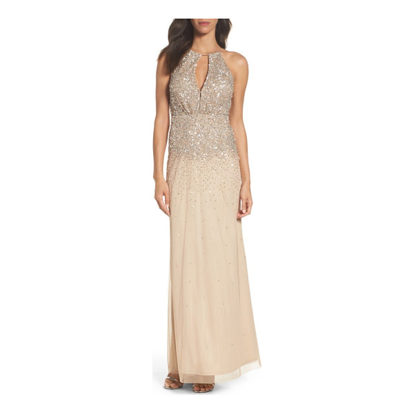ADRIANNA PAPELL beaded halter gown - Take the spotlight in this long chiffon gown detailed with...