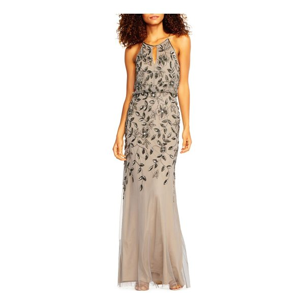ADRIANNA PAPELL beaded halter neck mermaid gown - Shimmering beads and sequins entwine down the bodice in...