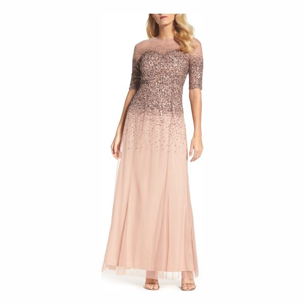 ADRIANNA PAPELL beaded illusion bodice mesh gown - Twinkling beads and sequins are scattered down the sheer...