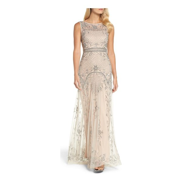ADRIANNA PAPELL beaded illusion column gown - Diamond lattices and vines created from glistening beads...