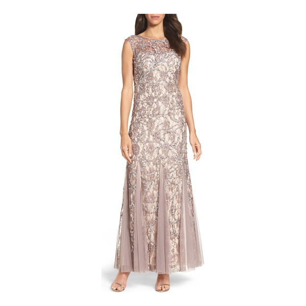 ADRIANNA PAPELL beaded lace gown - Floral lace enriched by beaded sparkle brings out the...