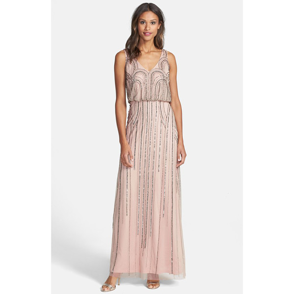 ADRIANNA PAPELL beaded mesh blouson gown - Art Nouveau-inspired beadworks casts midnight glitter over...