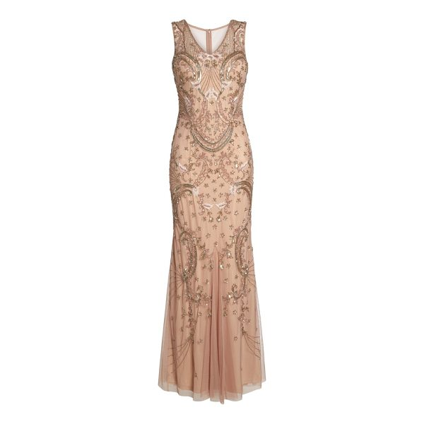 ADRIANNA PAPELL beaded mesh dress - A swishy godet skirt enhances the whimsical elegance of...