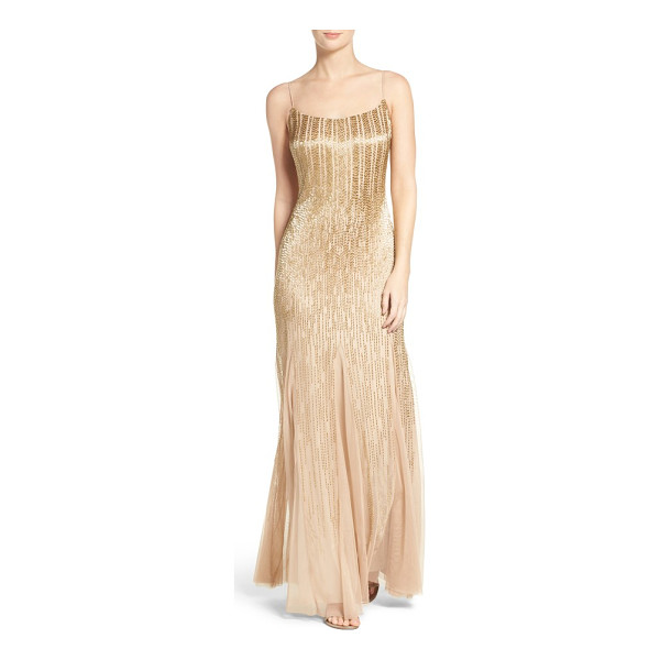 ADRIANNA PAPELL beaded mesh gown - Gleaming bugle beads stream down this godet-flared evening...