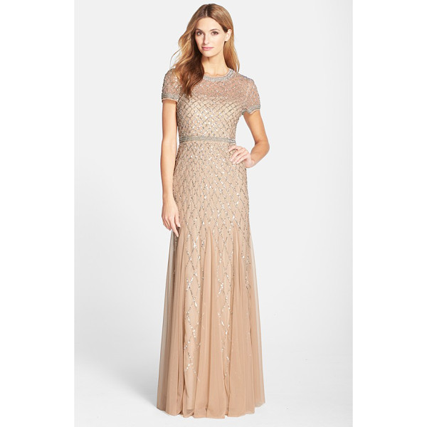 ADRIANNA PAPELL beaded mesh gown - Twinkling beads trace a dazzling diamond motif atop the...