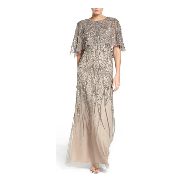ADRIANNA PAPELL beaded mesh gown - Sinuous rivulets of glittering beads cut through a field of...