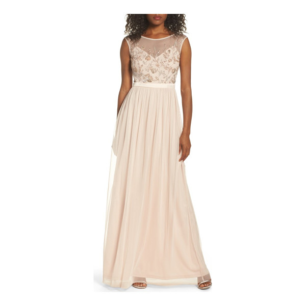 ADRIANNA PAPELL beaded mesh gown - Just the thing for an enchanted evening, this gown features...