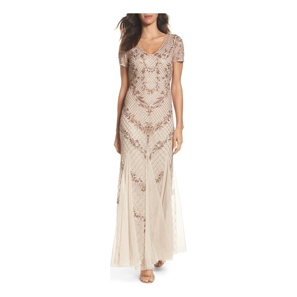 ADRIANNA PAPELL beaded mesh mermaid gown - Make a stunning entrance in this graceful beaded gown that...
