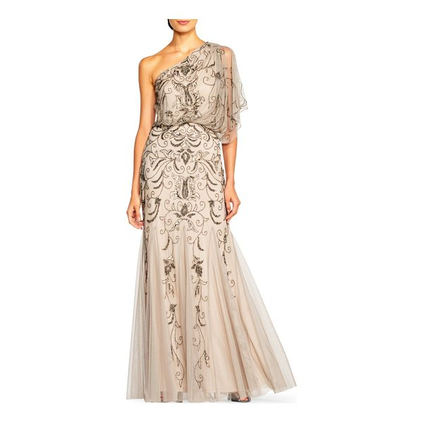 ADRIANNA PAPELL beaded one-shoulder blouson gown - Dazzling beads and sequins sweep across this floaty blouson...