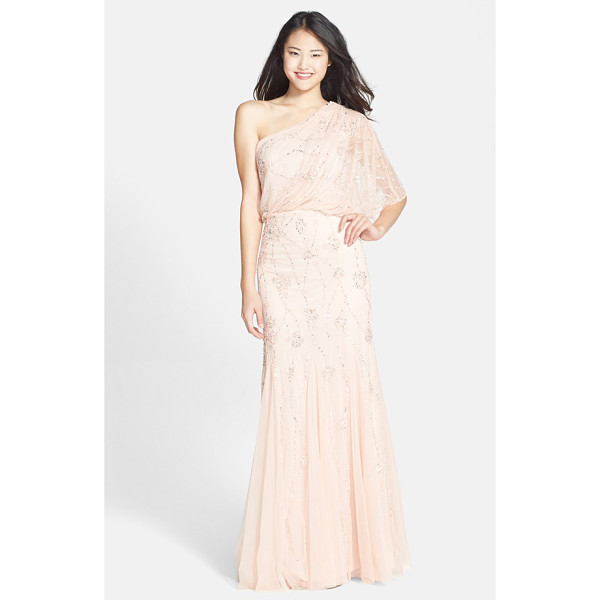 ADRIANNA PAPELL beaded one shoulder blouson gown - Gleaming patterns of metallic sequins and beads light up a...