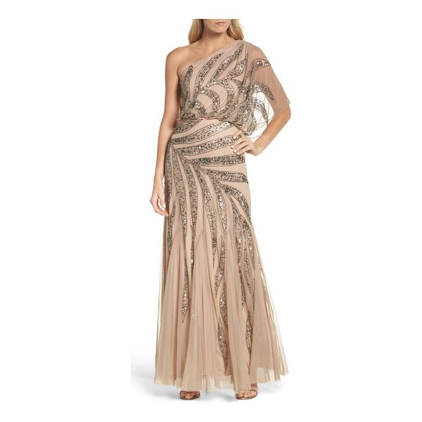 ADRIANNA PAPELL beaded one-shoulder blouson mesh gown - Fit for an elegant cruise to the tropics, this dreamy mesh...