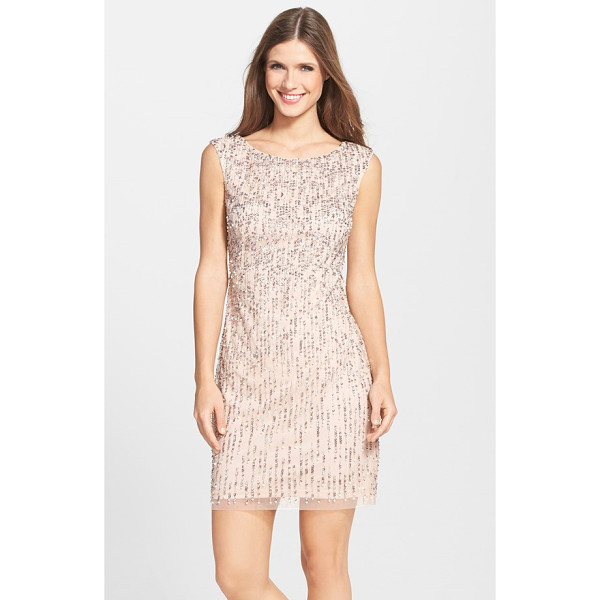 ADRIANNA PAPELL beaded sheath dress - Cascades of sequins and pearlescent beads coat a sleeveless...