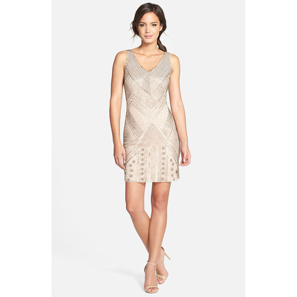 ADRIANNA PAPELL beaded sleeveless cocktail dress - Sparkling beads in Art Deco motifs embellish the sheer...