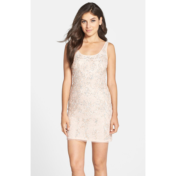 ADRIANNA PAPELL beaded tank dress - Elegant beading illuminates a sleek, sleeveless sheath...