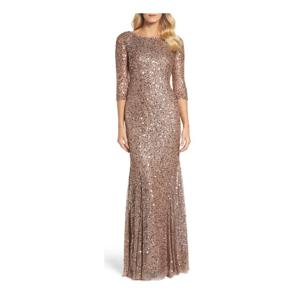 ADRIANNA PAPELL beaded trumpet gown - A web of metallic threads is scattered with sequins and...