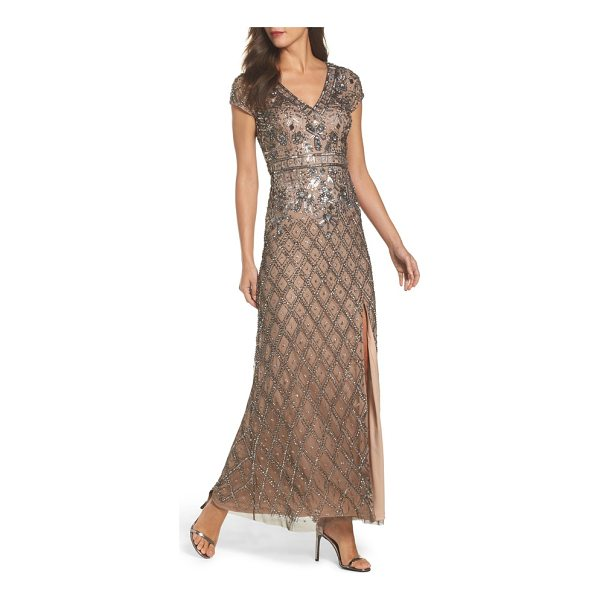 ADRIANNA PAPELL beaded v-neck mesh gown - A lively arrangement of beads and sequins settles into a...