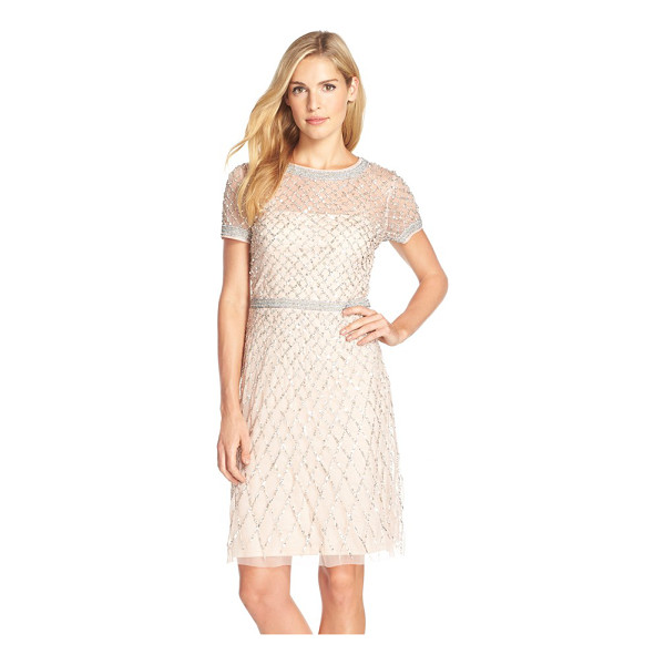 ADRIANNA PAPELL beaded woven sheath dress - This airy cocktail sheath teems with gleaming beadwork,...