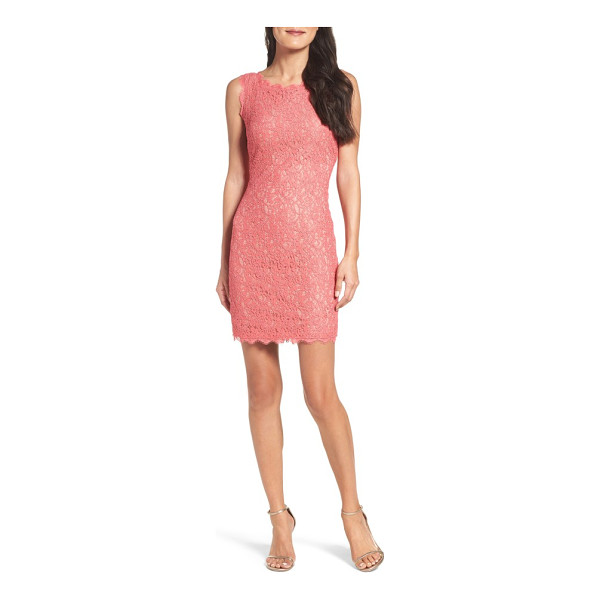 ADRIANNA PAPELL boatneck lace sheath dress - A racy lace overlay and industrial-chic exposed zipper...