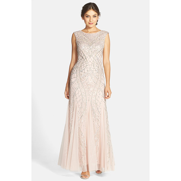 ADRIANNA PAPELL cap sleeve beaded gown - Curvaceous, Deco motifs with silvery shimmer skim down a...