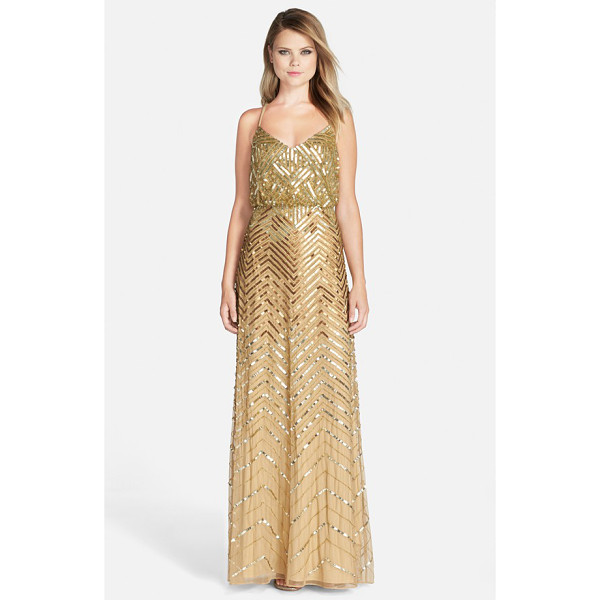 ADRIANNA PAPELL cross back sequin blouson gown - A glistening sequin-and-bead chevron pattern facets the...