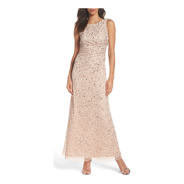 ADRIANNA PAPELL drape back gown - A stylized mix of sequins douses this mesh evening gown in...