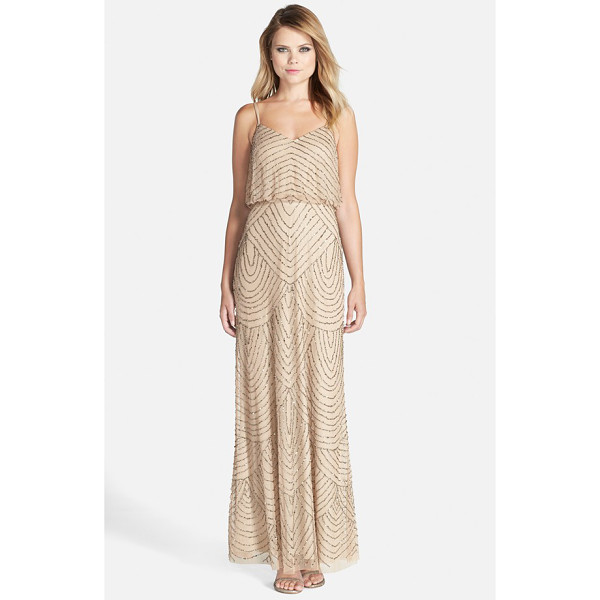 ADRIANNA PAPELL embellished blouson gown - Scalloped lines of iridescent, metallic beads and sequins...