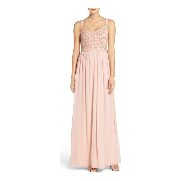 ADRIANNA PAPELL embellished bodice chiffon gown - Dainty beads and shimmering sequins trace an elegant motif...