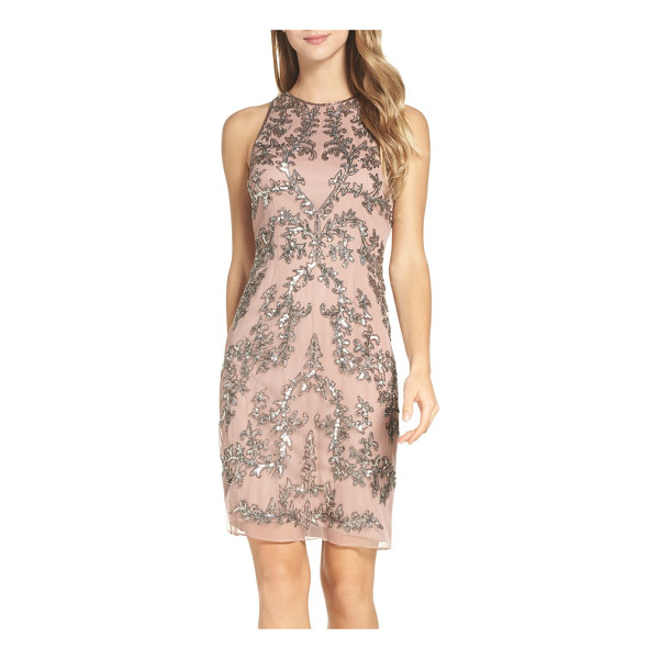 ADRIANNA PAPELL embellished chiffon sheath dress - Lavish designs glittering in silvery beads and sequins...