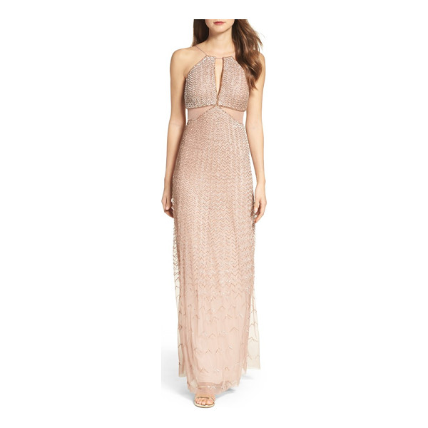 ADRIANNA PAPELL embellished cutout gown - A tantalizing keyhole and illusion-inset cutouts add drama...