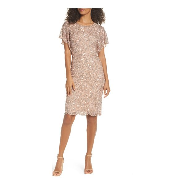 ADRIANNA PAPELL embellished flutter sleeve cocktail dress - Light-catching sequins and pearlescent beads lend...