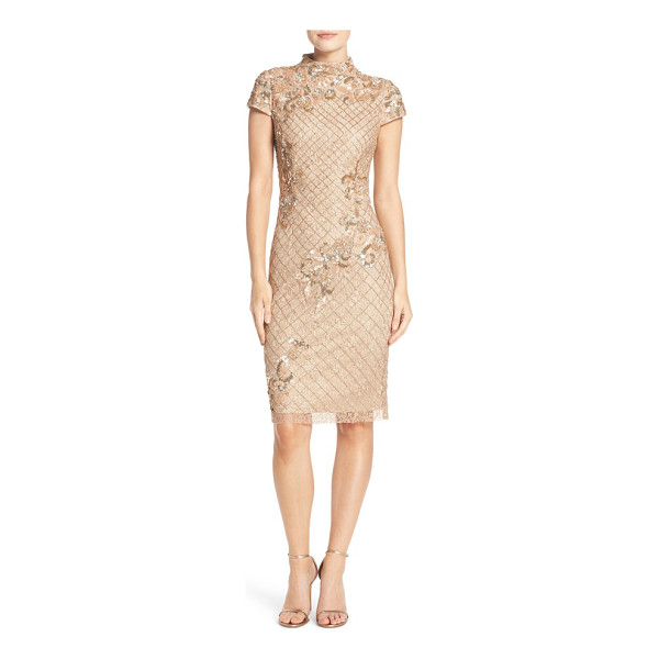 ADRIANNA PAPELL embellished lace sheath dress - A sculptural funnel neck modernizes this romantic cocktail...