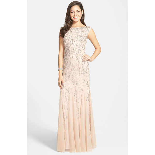ADRIANNA PAPELL embellished mermaid gown - Sparkling sequins and pearlescent beads twinkle across the...