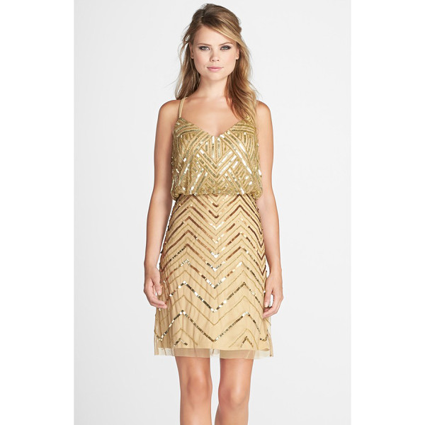 ADRIANNA PAPELL embellished mesh blouson dress - Glitzy sequins and beads in Art Deco-reminiscent patterns...