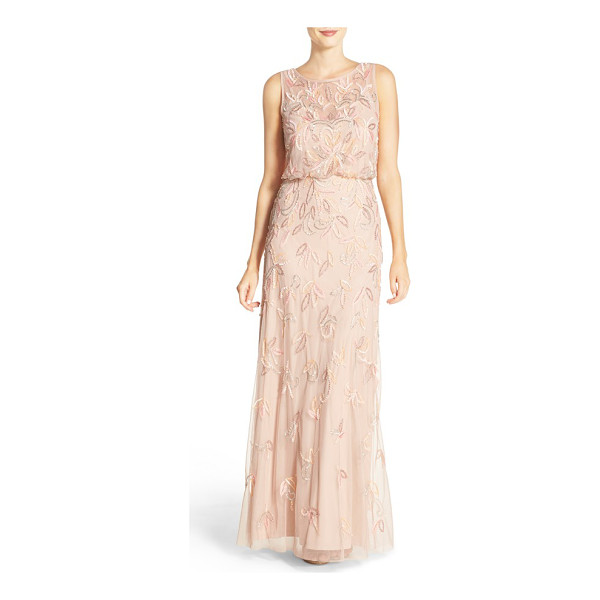 ADRIANNA PAPELL embellished mesh blouson gown - Leafy embellishments glimmer across the billowy, soft-pink...