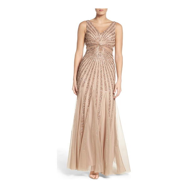 ADRIANNA PAPELL embellished mesh fit & flare gown - Glittering beads and sequins radiate from the illusion-mesh...