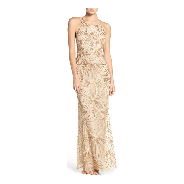 ADRIANNA PAPELL embellished mesh gown - Crystal beading and matte sequins pattern this airy...