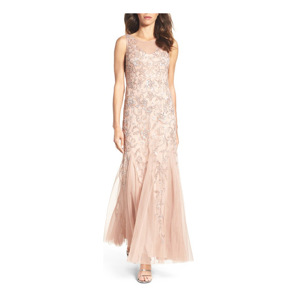 ADRIANNA PAPELL embellished mesh gown - Enhance your natural charms in the soft color and ethereal...