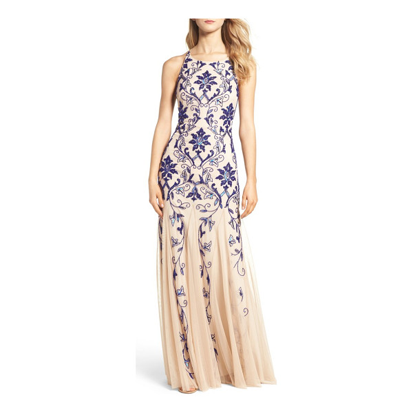 ADRIANNA PAPELL embellished mesh gown - A deep-blue brocade glistens over this gauzy, godet-flared...