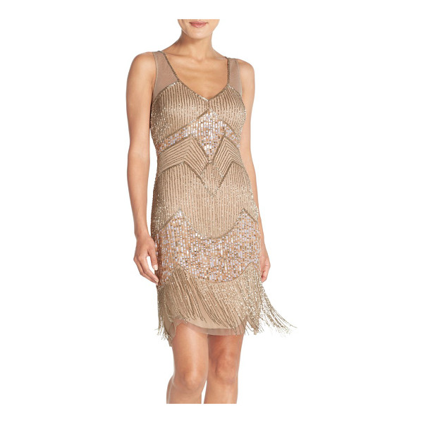ADRIANNA PAPELL embellished mesh sheath dress - A sleeveless sheath with dazzling patterns of sequins and...