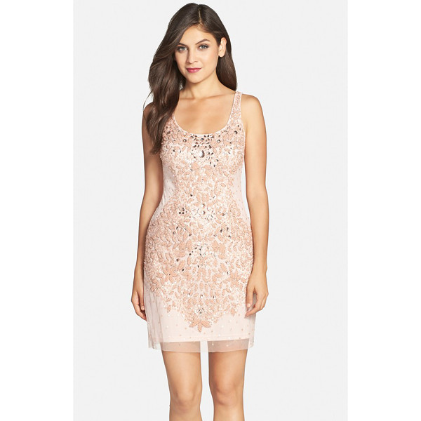 ADRIANNA PAPELL embellished mesh tank dress - Iridescent beads and sequins chart an exquisite leaf...