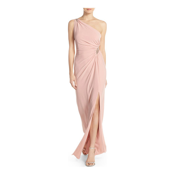 ADRIANNA PAPELL embellished one-shoulder jersey gown - Dusty-pink jersey envelops this expertly draped and ruched...