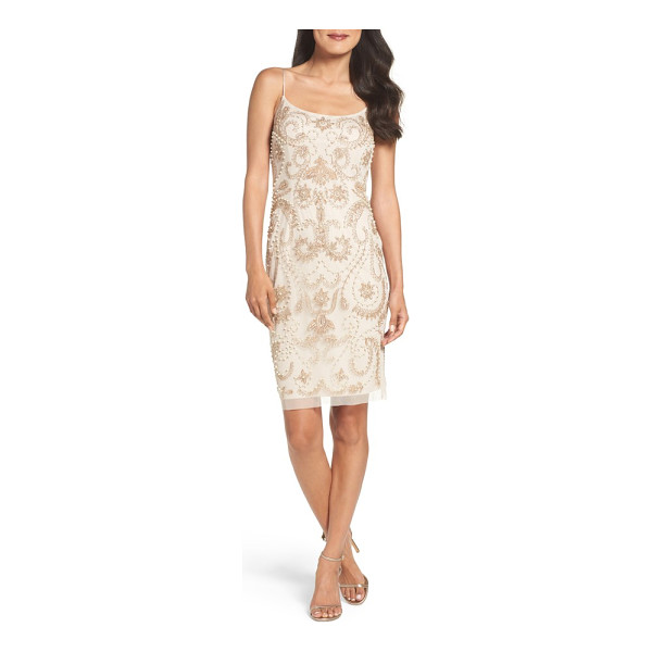 ADRIANNA PAPELL embellished sheath dress - Neutral beading, sequins and faux pearls envelop this...